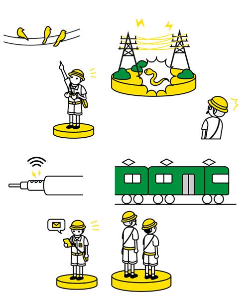 電線と探検隊のイラスト