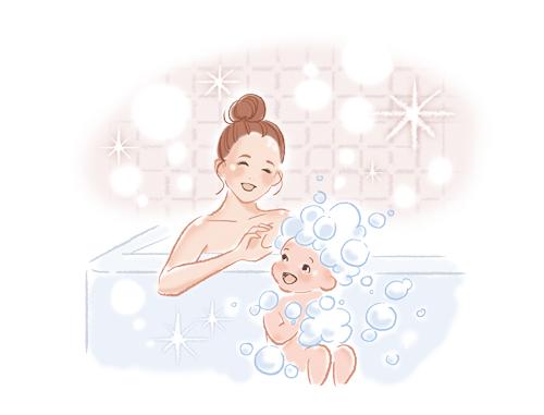 お風呂に入っている親子です。