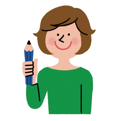鉛筆を持った女性です。