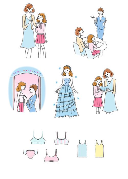 女の子がドレスを着ているイラストです。