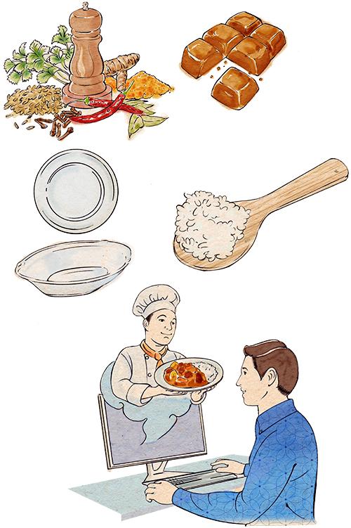 浮世絵風タッチで描いたカレーの香辛料とカレールーとお皿、しゃもじのイラストです。