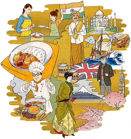 浮世絵風タッチで描いたカレーの歴史イラストです。