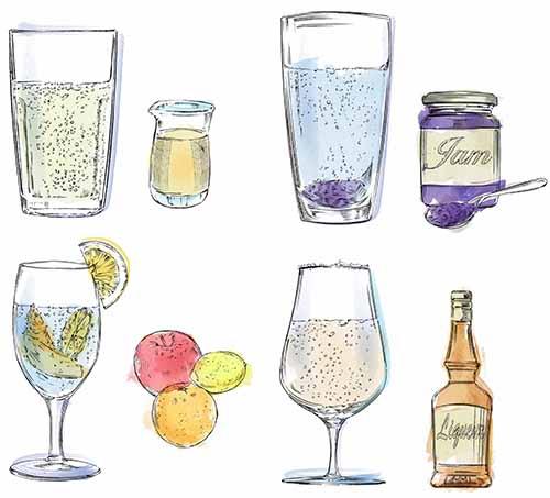 炭酸水に蜂蜜やジャムやフルーツ、お酒を混ぜたイラストです。
