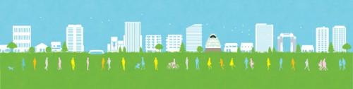大阪のランドマークを並べた街のイラストです