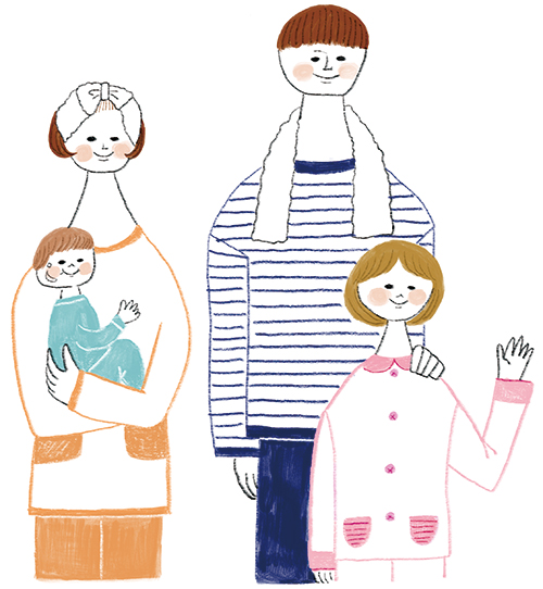 パジャマの家族イラストです。