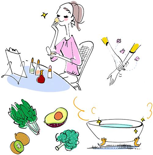 化粧をしている女性とハンドクリームを塗っているイラストと野菜とバスタブのイラストです。