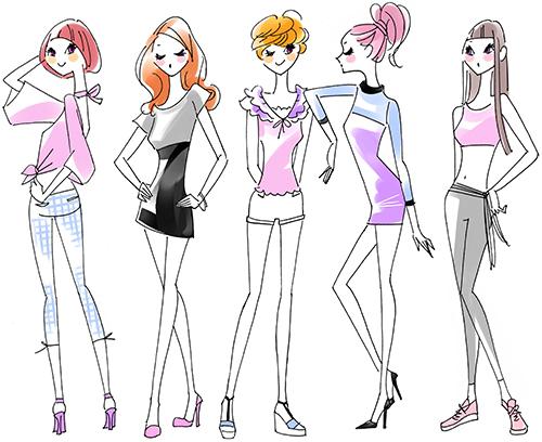 スポーツウェアの女性のファッションイラストです。