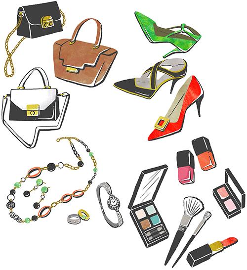 鞄、ヒール、アクセサリーと化粧品のファッションアイテムイラスト