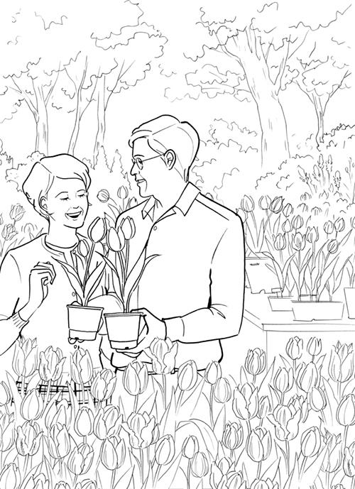 植物を観賞する年配の夫婦のイラスト