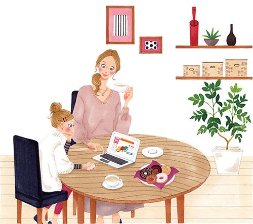 親子で楽しくパソコンで通販を見ているイラストです。