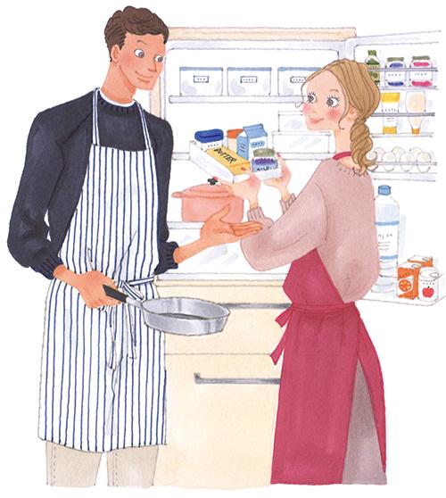 夫婦で料理するため冷蔵庫を見ているイラストです。