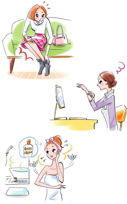 肌荒れに悩む女性イラスト