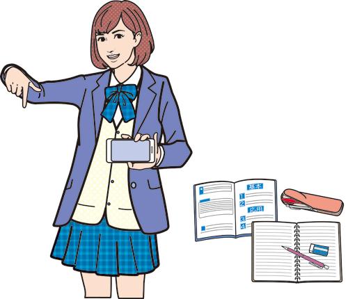 女子高生と勉強のイラストです。