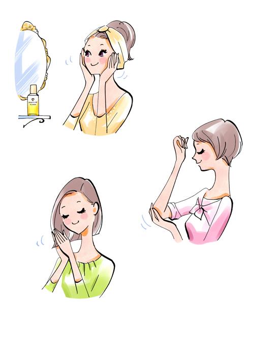 女性の肌ケアイラストです。