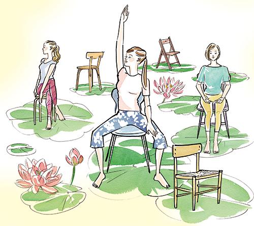 ヨガをしている女性のイラスト