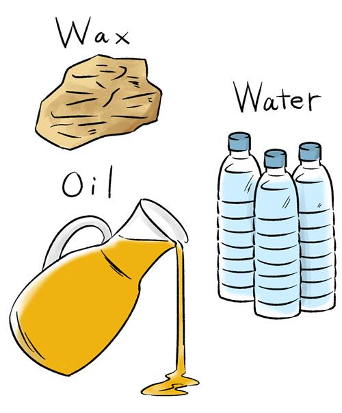 水が入ったペットボトルとワックスとオイルのイラスト