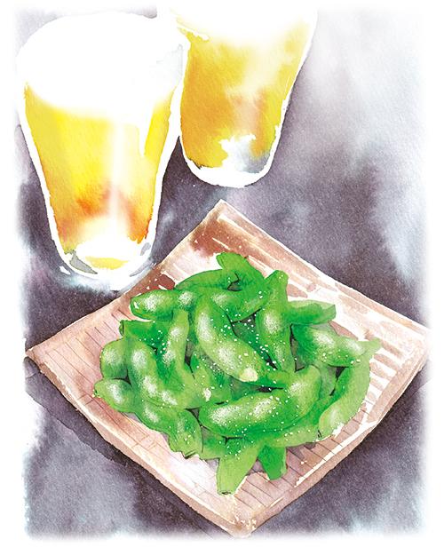 ビールとおつまみの枝豆のイラストです。
