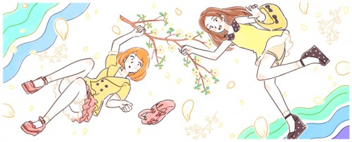 5月らしい陽気の中を浮遊する女の子二人のイメージ