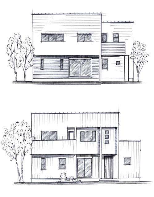 家の線画イラスト