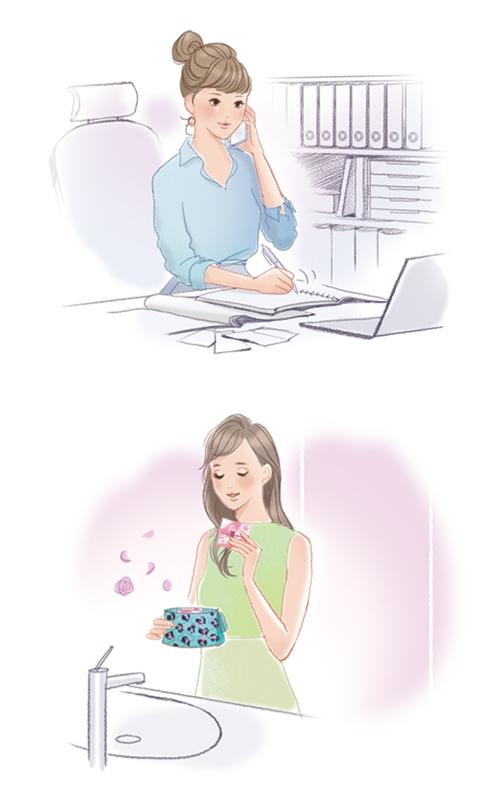 働いている女性のシーンイラスト