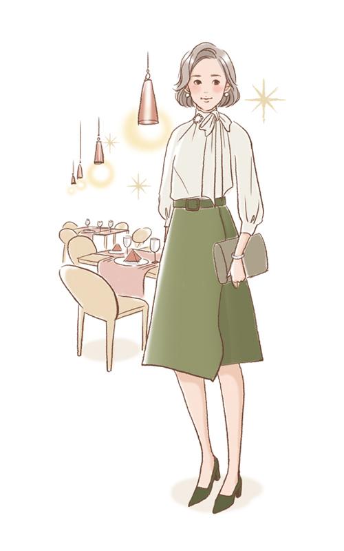 レストランと女性