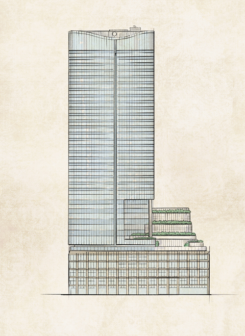 東京ミッドタウン日比谷の建物イラスト