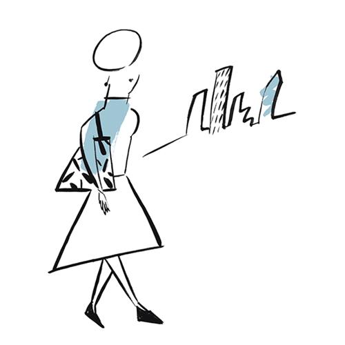 町並みを背景に歩く女性イラスト