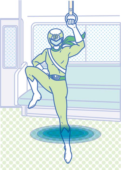 緑色のヒーローのイラスト