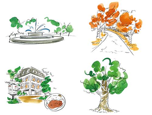 日比谷公園にある建物や植物のイラスト