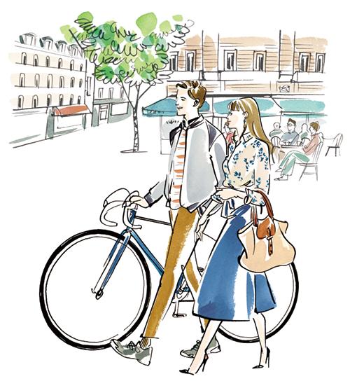 パリの通りを歩く男女のイラスト