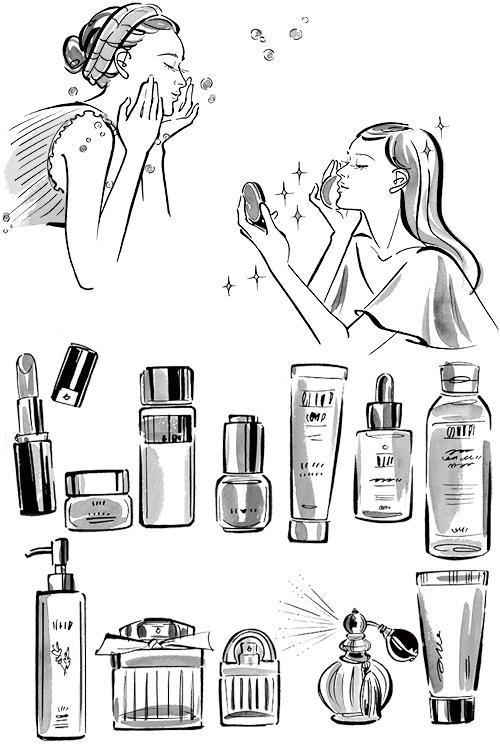 化粧をしている女性と化粧品のモノクロイラストです。