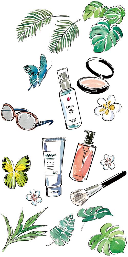 化粧品とサングラスと花とチョウチョのイラスト