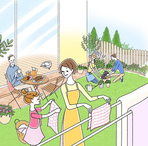 庭で過ごす家族のイラストです。