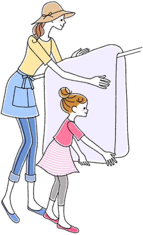 布団を干す親子のイラストです。