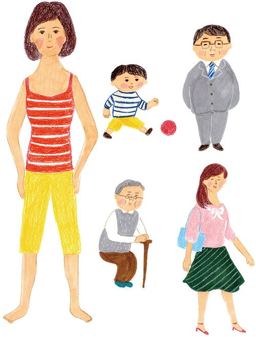 子供、サラリーマン、OL、おじいちゃんと女性のイラストです。