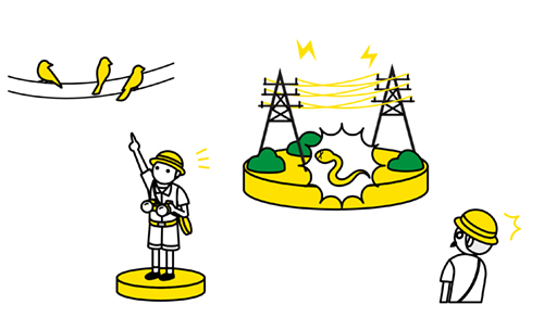 探検隊と電線のイラスト