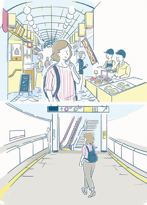 商店街と地下鉄のイラスト