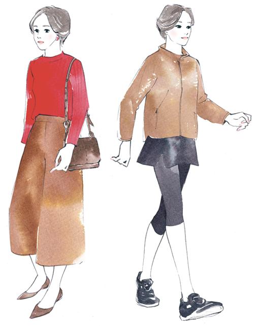 歩いている女性イラスト