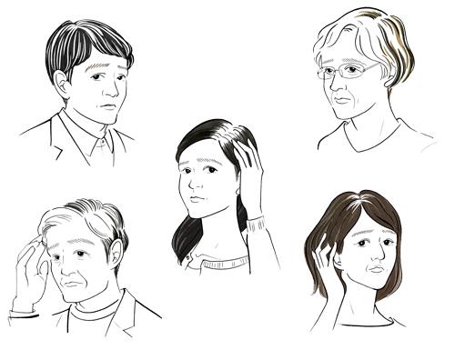 白髪の生えた女性と男性
