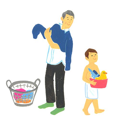 お風呂に入るために服を脱ぐおじいさんと孫