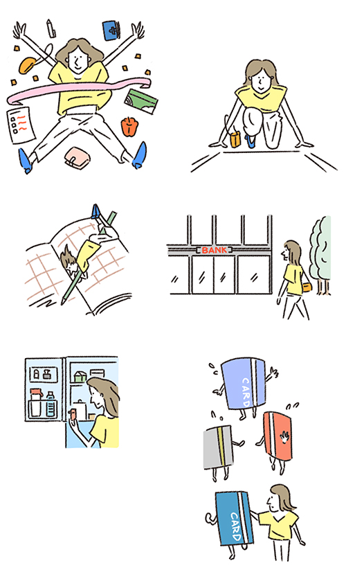 女性のお金の節約方法を描いたイラスト