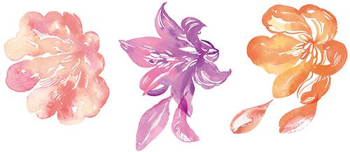 お花のシルエットイラスト