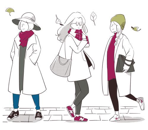 秋,ファッション,2018,イラスト