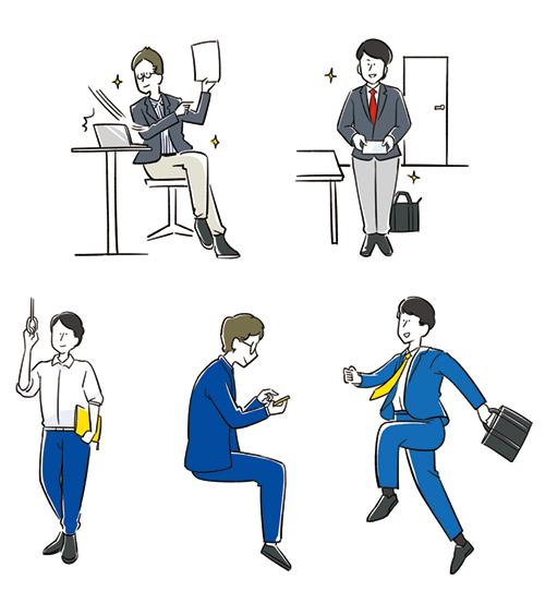 男性ビジネスマンの日常を描いたイラスト
