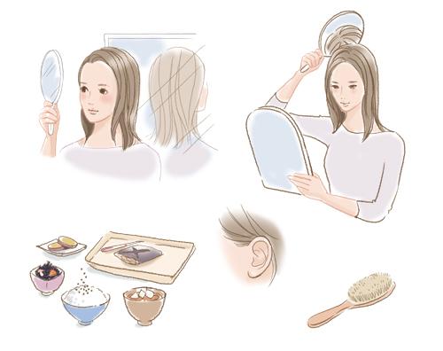 髪と食事イラスト