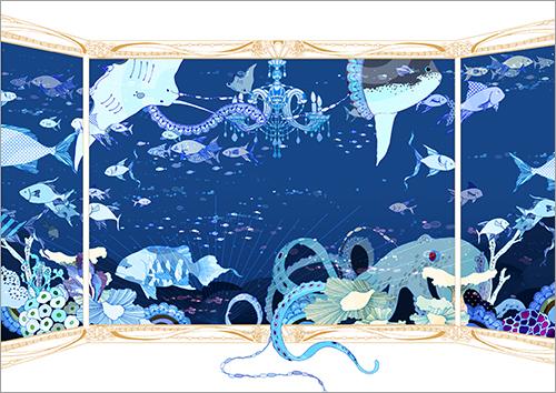水族館のような場所を描いたイラスト