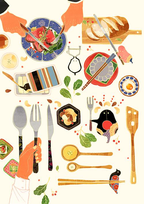料理を真俯瞰から見たイラスト