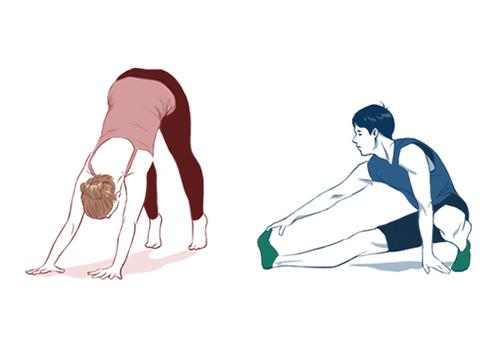 準備運動している男女のイラスト