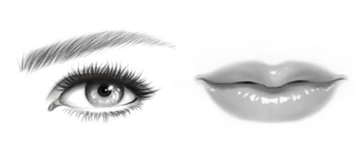 リアルな目と口のイラスト