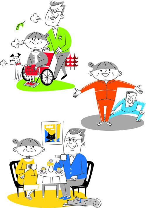 散歩する高齢者、体操する高齢者、食事する高齢者